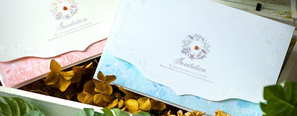 結婚式招待状や席次表、席札は南国沖縄オリジナルのコーラル(新商品)